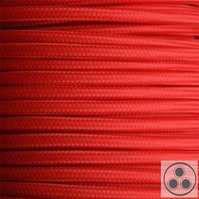 meterware Exzellente QualitäT Textilkabel Stromkabel Lampenkabel Stromkabel Rot 3 X 1,5 Mm² Rund