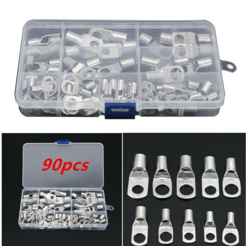 90pcs Copper Style Tube Terminals Battery Welding Cable Lug Ring Crimp Connector