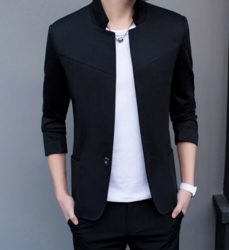 2018 Mens Stand Collar One-Button Blazer Coat Slim Fit Casual Jacket Fashion