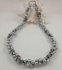 Long Grey Baroque Freshwater Pearl & Crystal Necklace & Magic Clasp Shortener