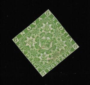 Nova-Scotia-1857-Scott-4-6p-Yellow-Green-Mint-Condition-Very-Nice
