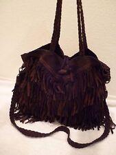 EN SHALLA Free People Brown braided Fringe hobo cross body & handle purse-EUC!