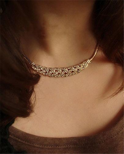 Fashion Jewelry Pendant Chain Crystal Choker Chunky Statement Charm Bib Necklace