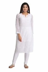 7438e10f348 Image is loading Indian-White-Kurti-Chikan-Hand-Embroidered-Regular-Fit-
