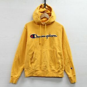 Champion-Reverse-Weave-Sweatshirt-Hoodie-Size-Small-Yellow-Embroidered-Spell-Out