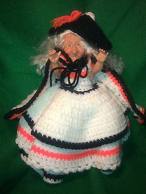 TABLE or TREE TOPPER-White Haired & Caped Witch Doll-Hand Crocheted-ARMS MOVE