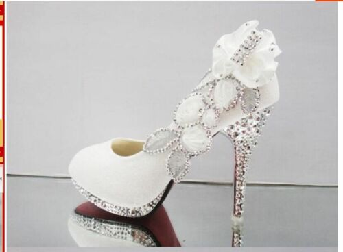 NEW White Beautiful Vogue lace Flowers Crystal High Heels Wedding Shoes