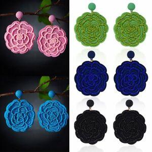 Charm-Bohemian-Flower-Earrings-Handmade-braid-Rice-Beads-Ethnic-Jewelry-Party