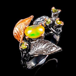 Beauty Rainbow7x5mm Natural Orange Opal 925 Sterling Silver Ring Size 8/R117847