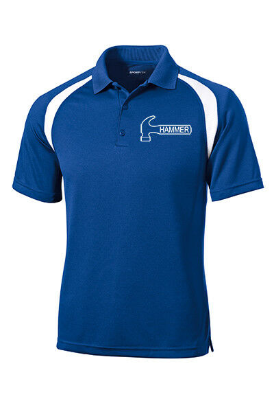 Hammer Men's Nail Performance Polo Bowling Shirt Dri-Fit Royal