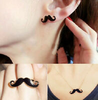 Fashion Moustache Handlebar Mustache Necklace Double Ring Earrings Set