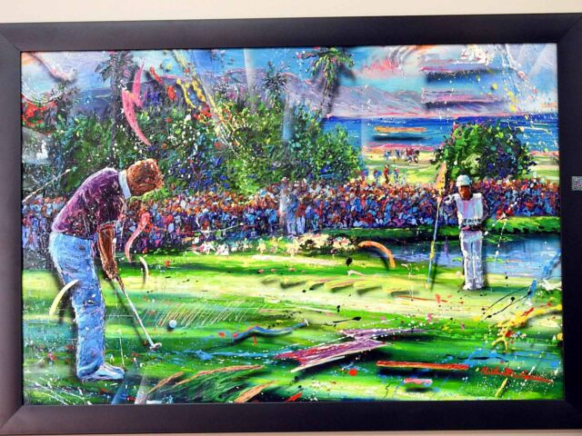RARE! Original 35k Christian Riese Lassen HAND Painting on Acrylic Golf 9TH HOLE