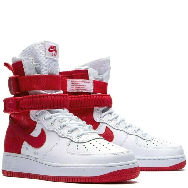 white and red air force 1 high tops