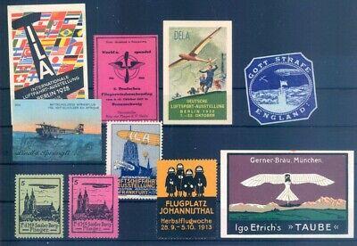 Aggressiv Luftfahrt & Zeppelin Vignette: Vignetten, 10 Verschiedene Luftahrtvignet #101 Attraktive Designs;