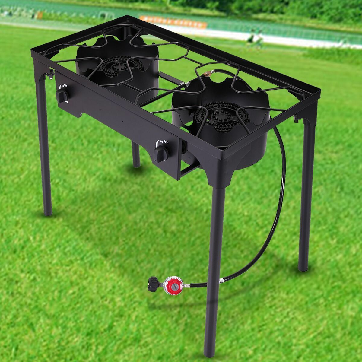 BBQ Stove Stand Double Burner Gas Propane Cooker Outdoor Camping Picnic Barbecue