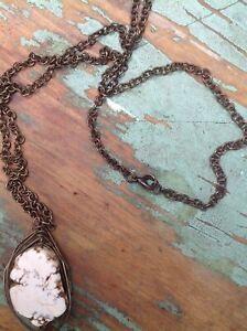 Free-People-BOHO-Stone-Pendant-Chain-Necklace