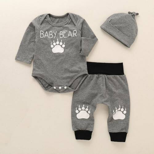 Toddle Boys Baby Bear Long Sleeve Jumpsuit Romper Tops+Pants Hat Outfits Set USA