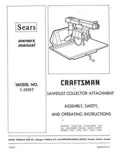 1974 craftsman 9 29517 radial arm saw dust collector attachment rh ebay com Craftsman Table Saw Dust Collector Craftsman Table Saw Dust Collector