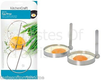 KITCHEN CRAFT 4 ( 2 SETS ) STAINLESS STEEL ROUND FRIED EGG FRYING COOKING RINGS