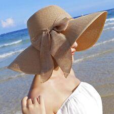 High Quality Women Ladies Chic Wide Large Brim Summer Beach Sun Cap Straw L1B8