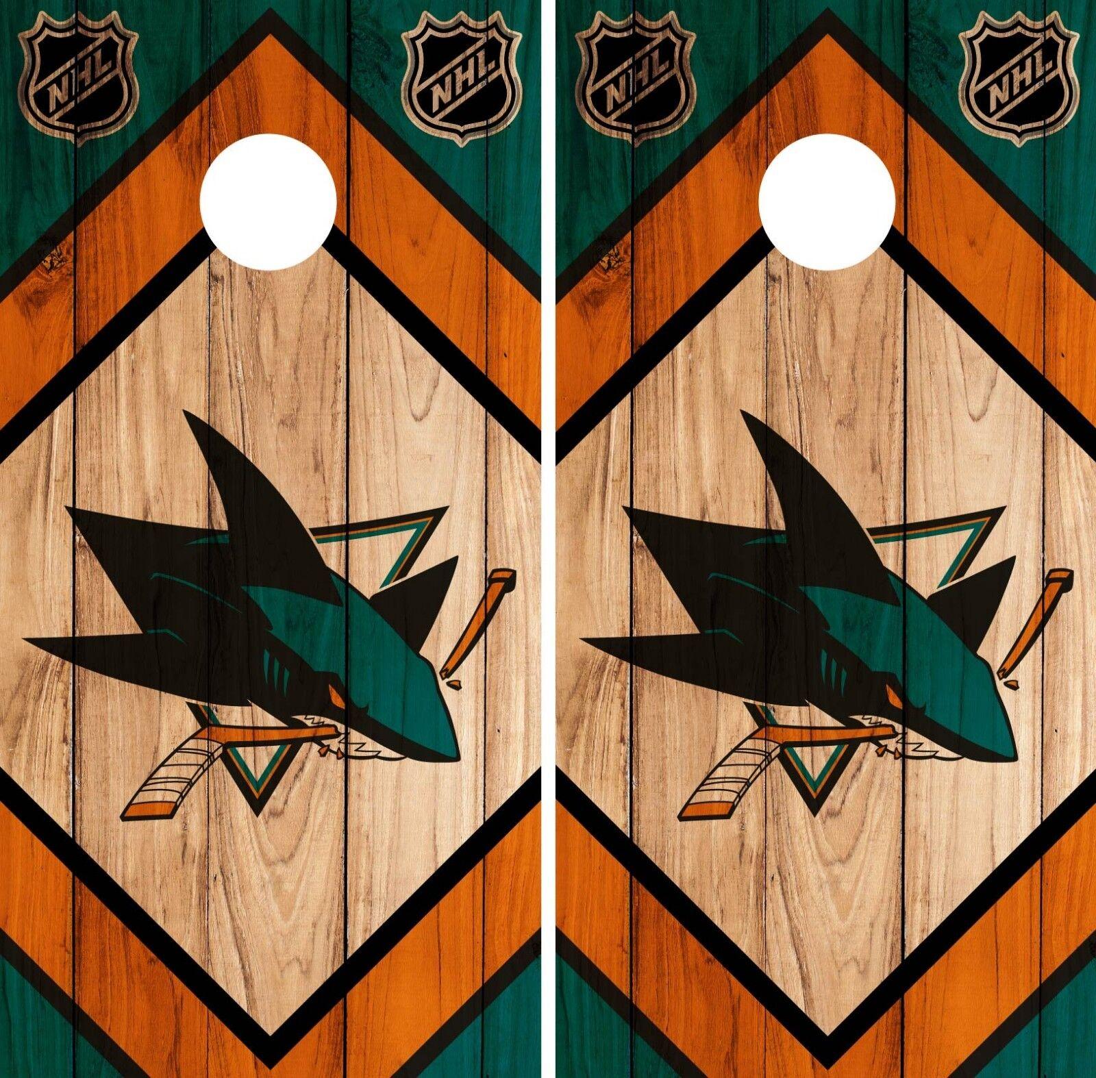 San Jose Sharks Cornhole Wrap NHL Game Board Skin Set Vinyl Decal CO205