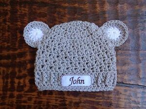 3308d671bb961 Details about Crochet Personalized Newborn Baby Hat with ears (0-3 months)