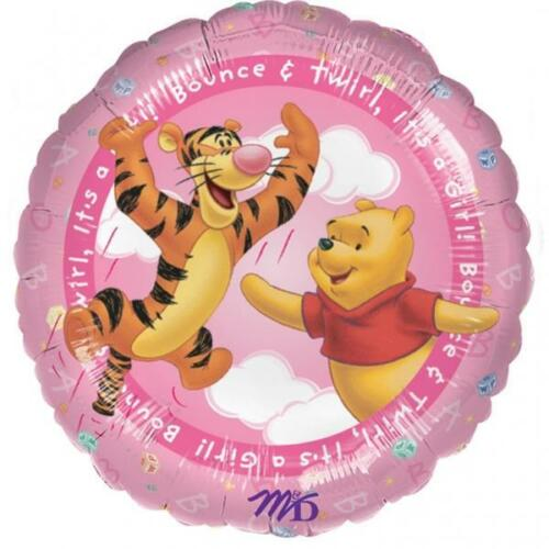 Winnie The Pooh Jump /& Twirl It/'s A Girl New Baby 18 Inch Foil Balloon