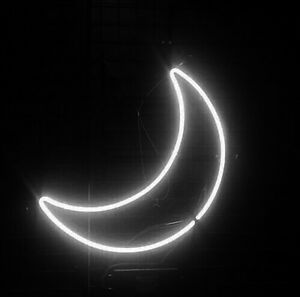 New White Moon Wall Decor Real Glass Neon Sign 14