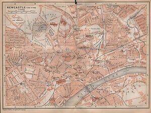1910-BAEDEKER-ANTIQUE-MAP-UK-TOWN-PLAN-NEWCASTLE-ON-TYNE