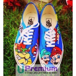 Indelebile A Scarpe Mano Authentic Disegnate Handmade Vans Mario Bros ZPnwvaaYq