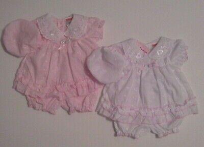 Premature Newborn Baby Tiny Girls Dress Set White Pink Bloomers Hat 3-5 5-8 Lbs