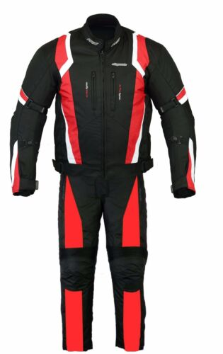 RKSports Motorbike Waterproof Red Suit Combo Textile Trousers Jacket CE Mens