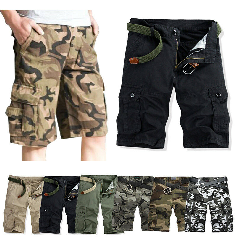 Casual Men's Camo Short Trousers Cargo Shorts Summer Army Combat Pants Outdoor