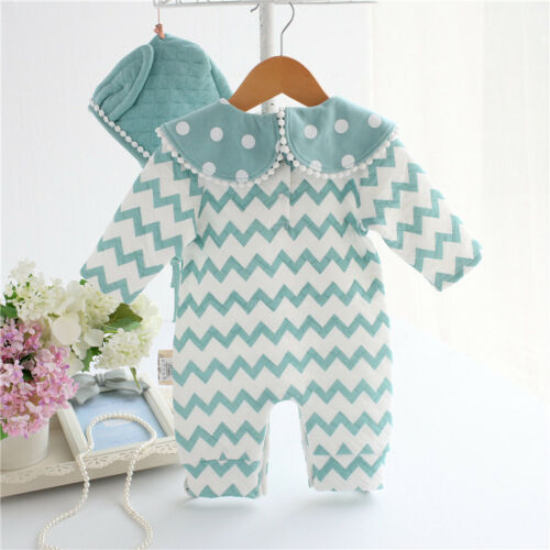 Newborn Kids Baby Boy Girl Warm Bodysuit Romper Jumpsuit Hat Outfits Clothes Set