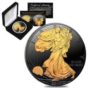 2019-1-oz-Silver-American-Eagle-1-Coin-Black-Ruthenium-24K-Gold-Edition-w-Box