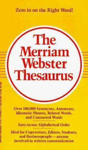 The Merriam-Webster Thesaurus (1998, Paperback) for sale online | eBay