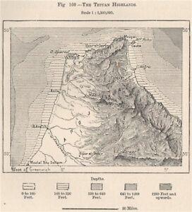 The Tetouan Highlands Rif Mountains Morocco 1885 old antique map
