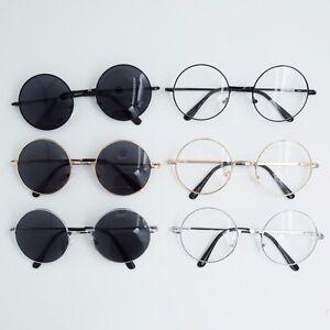 17491e5eaaa Men Women Sunglasses Round Glasses Frame Dark Lens Clear Lens Geek ...
