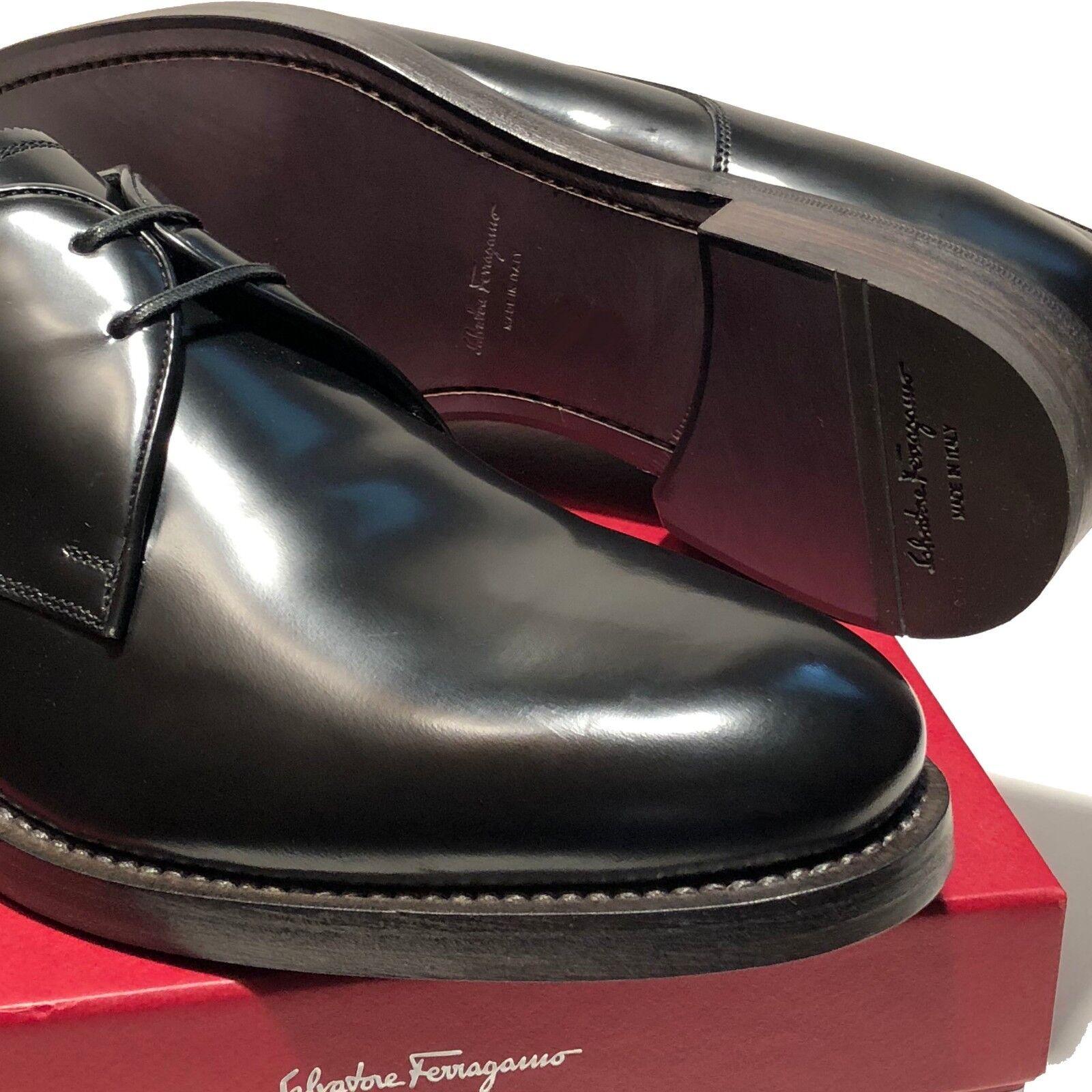 Ferragamo GIDEON Formal Men's 9.5 42.5 Black Dress Oxford shoes Tuxedo Wedding