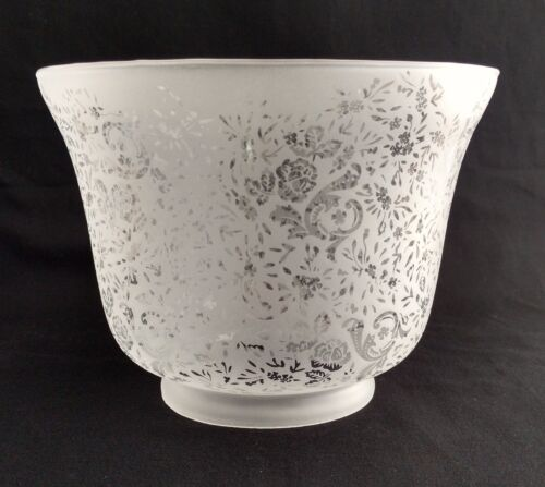 """GAS LIGHT LAMP SHADE VICTORIAN LACE FILIGREE ETCHED GLASS 4/"""" X 8/"""" NEW 39"""