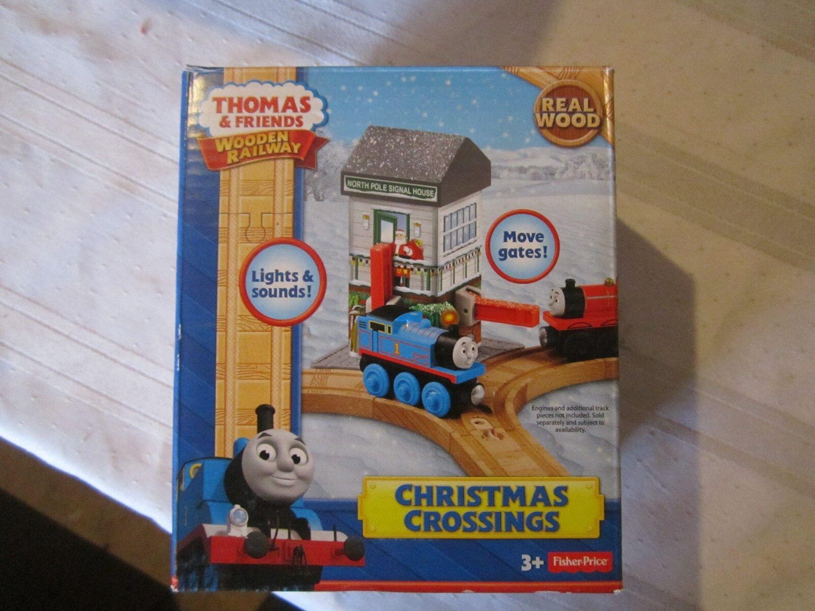 Thomas the Train Wooden Railway CHRISTMAS CHRISTMAS CHRISTMAS CROSSINGS Lights Sounds Moves NEW Set 84dcea