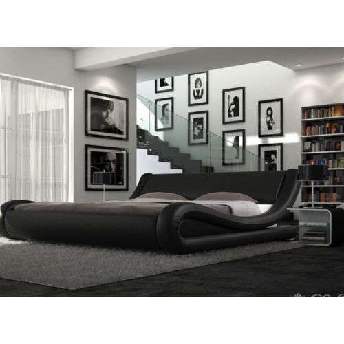 ENZO ITALIAN MODERN DESIGNER DOUBLE OR KING SIZE LEATHER BED + MEMORY MATTRESS >