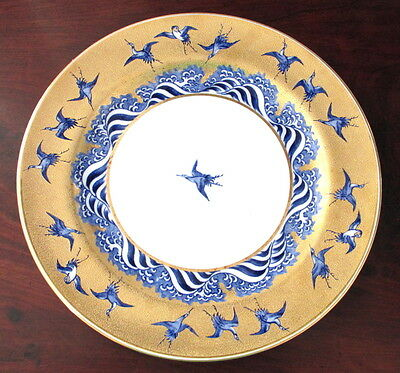 """9 ANTIQUE 1872 CABINET 10"""" GOLD ENCRUSTED MINTON AESTHETIC ENAMEL PLATES GEESE"""