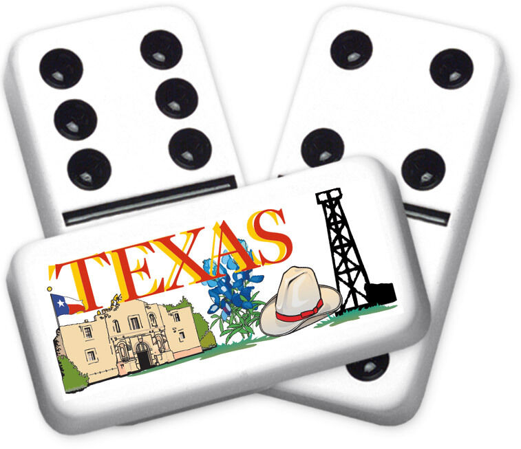 Texana SeriesTexas Montage Design Double six Professional Talla Dominoes