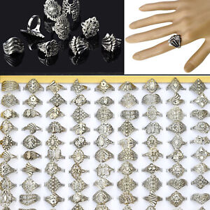 10-Pcs-Wholesale-Lots-Jewelry-Mixed-Style-Tibet-Silver-Vintage-Rings-Band-Ring