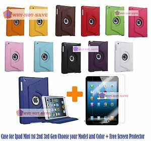 360 Rotating Smart Leather Case Cover with stand for iPad Mini 1st 2nd 2 3rd Gen