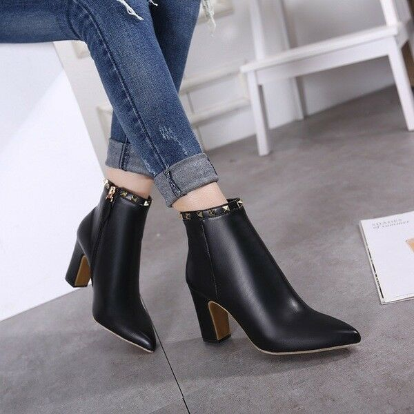 stivali stivaletti bassi scarpe caviglia nero 10 cm  eleganti simil pelle 9638