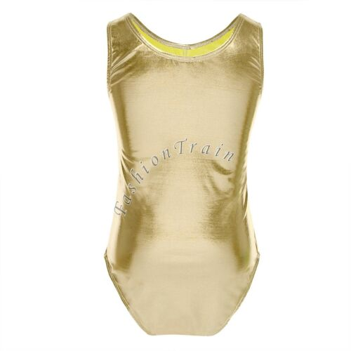 Girl Kid Gymnastics High Cut Leotard Dance Ballet Metallic Spandex Dancwear 5-14