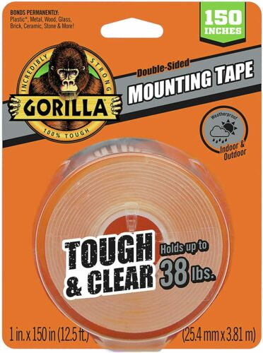 """1/"""" x 150 Holds up to 38lbs. Gorilla Tough /& Clear Double Sided Mounting Tape"""
