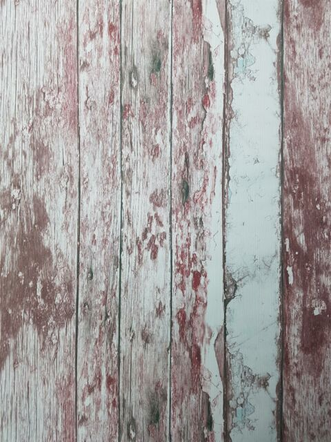 Painted Rustic Wood Wallpaper Distressed Red White Textured Vinyl 3 X Rolls